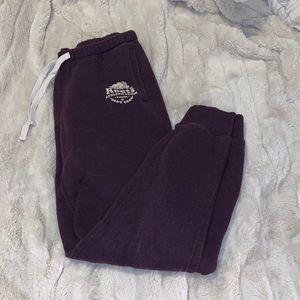 dark purple roots pants: sweat pants/joggers size small